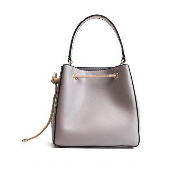 Metal Corner Tassel Drawstring Tote Bag -  GRAY