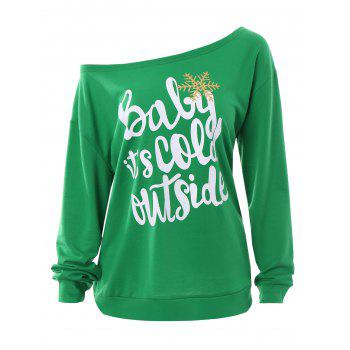 Plus Size Baby Its Cold Outside Christmas Sweatshirt - GREEN GREEN