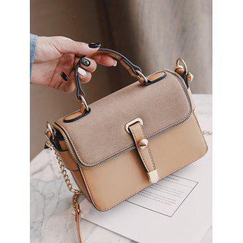 Zip Metal Chain Handbag - KHAKI