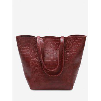 Embossed Pattern PU Leather Shoulder Bag - RED RED