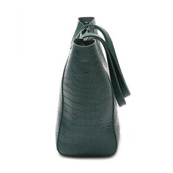 Embossed Pattern PU Leather Shoulder Bag - GREEN