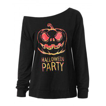 Plus Size Happy Halloween Skew Neck Sweatshirt - BLACK 3XL