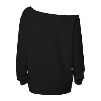 Plus Size Happy Halloween Skew Neck Sweatshirt - BLACK 4XL