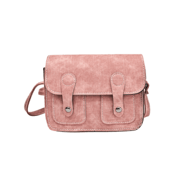 Buckle Straps Stitching Crossbody Bag -  PINK