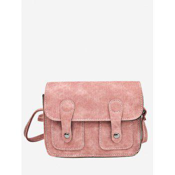 Buckle Straps Stitching Crossbody Bag - PINK PINK