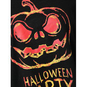 Plus Size Happy Halloween Skew Neck Sweatshirt - BLACK 5XL