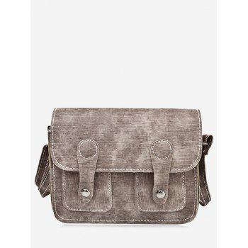 Buckle Straps Stitching Crossbody Bag - BROWN BROWN
