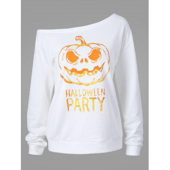 Plus Size Happy Halloween Skew Neck Sweatshirt - WHITE 5XL