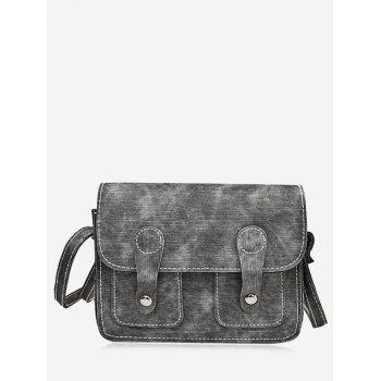 Buckle Straps Stitching Crossbody Bag - GRAY GRAY