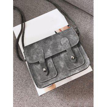 Buckle Straps Stitching Crossbody Bag - GRAY