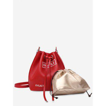 Letter PU Leather Drawstring Crossbody Bag Set - RED RED