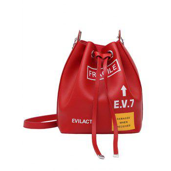 Letter PU Leather Drawstring Crossbody Bag Set - RED