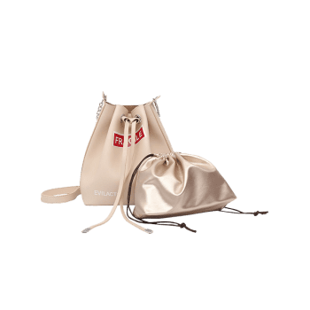 Letter PU Leather Drawstring Crossbody Bag Set -  WHITE