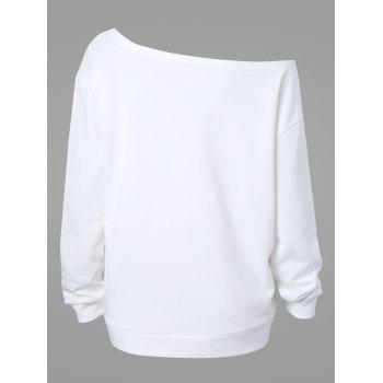 Plus Size Happy Halloween Skew Neck Sweatshirt - WHITE WHITE