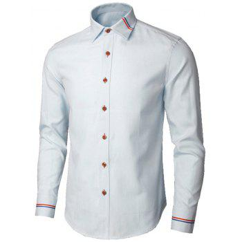 Long Sleeve Stripe Detail Casual Shirt - LIGHT BLUE L