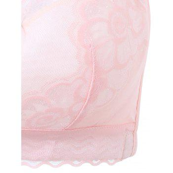 Plus Size Padded Wirefree Floral Lace Bra - PINK PINK