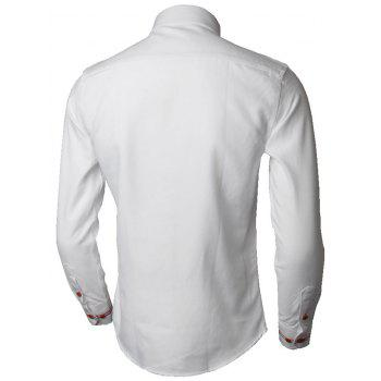Long Sleeve Stripe Detail Casual Shirt - WHITE 5XL
