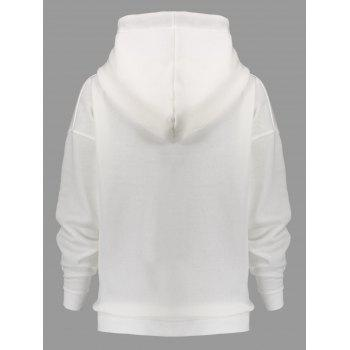 Side Zipper Plus Size Drawstring Hoodie - CRYSTAL CREAM CRYSTAL CREAM