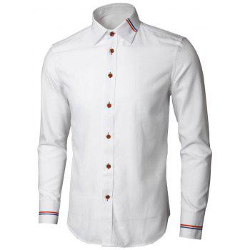 Long Sleeve Stripe Detail Casual Shirt - WHITE XL