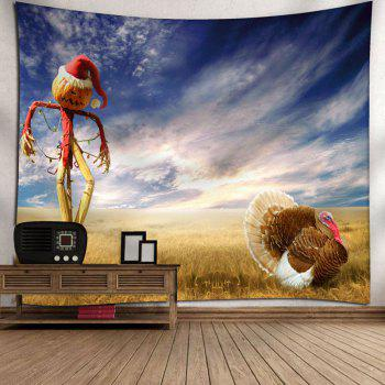 Pumpkin Scarecrow Printed Wall Tapestry - BLUE W91 INCH * L71 INCH