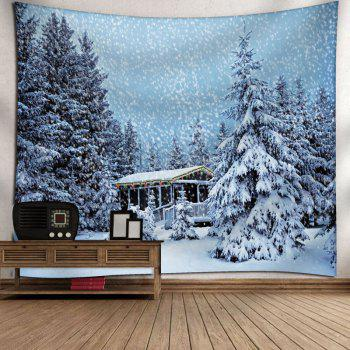 Christmas Snowscape Printed Wall Tapestry - CLOUDY W91 INCH * L71 INCH