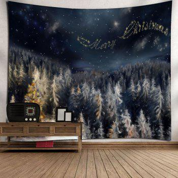 Merry Christmas Tree Wall Art Tapestry - BLACK BLUE W91 INCH * L71 INCH