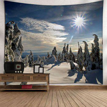 Wall Hanging Christmas Snowscape Tapestry - BLUE W91 INCH * L71 INCH