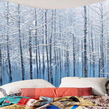 Lake Snowscape Pattern Wall Art Tapestry - GREY WHITE W79 INCH * L71 INCH