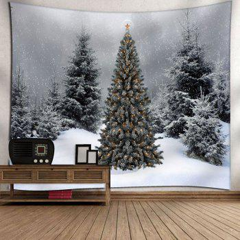 Wall Art Christmas Snow Tree Tapestry - GRAY W91 INCH * L71 INCH