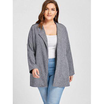 Plus Size Open Front Lapel Coat - GRAY 2XL