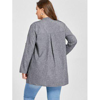 Plus Size Open Front Lapel Coat - 3XL 3XL