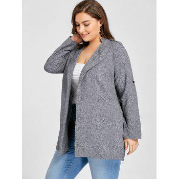 Plus Size Open Front Lapel Coat - 4XL 4XL