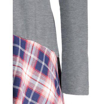 Lace Plaid Panel Plus Size Long Top - GRAY 4XL