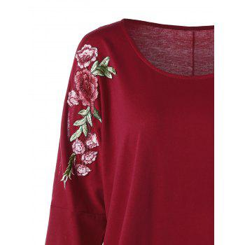 Plus Size Split Sleeve Embroidered Top - 5XL 5XL