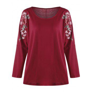 Plus Size Split Sleeve Embroidered Top - RED 5XL