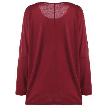 Plus Size Split Sleeve Embroidered Top - RED RED