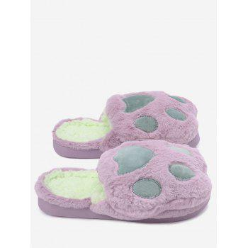 Color Block Furry Slippers - PURPLE PURPLE