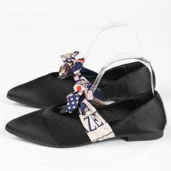 Satin Bowknot Flat Shoes - BLACK BLACK