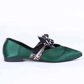Satin Bowknot Flat Shoes - GREEN GREEN