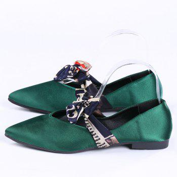 Satin Bowknot Flat Shoes - GREEN 38