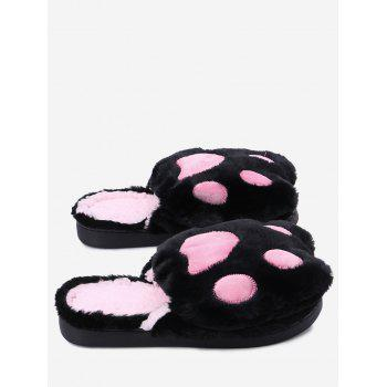 Color Block Furry Slippers - BLACK SIZE(36-37)