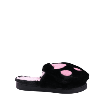 Color Block Furry Slippers - BLACK BLACK