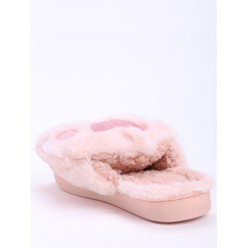 Color Block Furry Slippers - PINK PINK