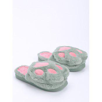 Color Block Furry Slippers - GREEN GREEN