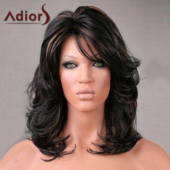 Adiors Medium Oblique Bang Highlight Shaggy Slightly Curled Synthetic Wig - COLORMIX COLORMIX