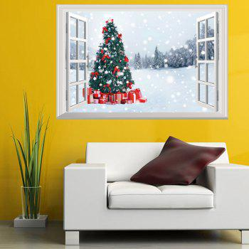 2018 3D Window Snowy Forest Christmas Tree Wall Art Sticker COLORMIX ...