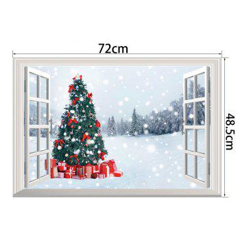 3D  Window Snowy Forest Christmas Tree Wall Art Sticker - COLORMIX 48.5*72CM