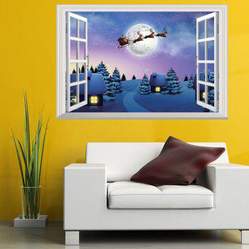 Window Snowy Christmas Village Night 3D Wall Art Sticker - COLORMIX 48.5*72CM