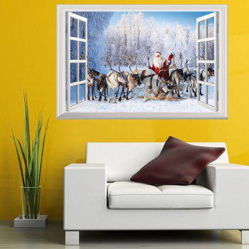 Window Forest Christmas Santa Deer 3D Wall Art Sticker - COLORMIX 48.5*72CM