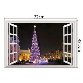 Window Christmas Tree 3D Wall Art Sticker For Bedrooms - COLORMIX 48.5*72CM